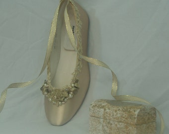 Size 6 Brides Wedding Flats Champagne Gold hand dyed, Gold Rosette Flowers Ready to ship, Pearls & Crystals, Lace Up Ballet Style Slipper