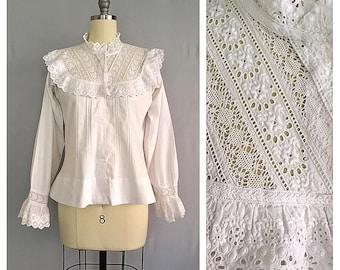 Miranda blouse | 1900s white lace shirt | Edwardian cotton blouse |
