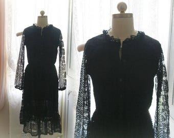Goth Retro Victorian High Ruffles Collar Button Up black lace Dress,shabby chic rustic dress , little black dress, romantic lace dress