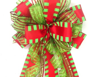 Red and Lime Green Bow, Christmas Bow,  Red and Green Bow, Tree Topper Bow, Wreath Bow, Christmas Tree Bow
