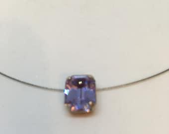 Necklace Single Stone Octagonal Alexandrite Lilac Purple colour Glass Chaton Rhinestone pendant by JulieDeeleyJewellery on Etsy Ladies Gift