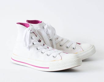 Vintage 90's Converse Trainers Laced Sneakers White Leather Women's UK 4.5