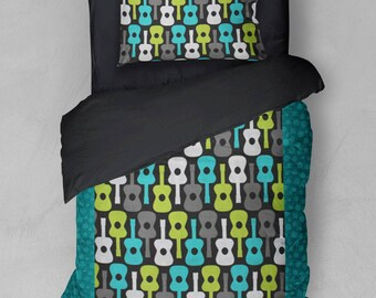 Groovy Guitar Bedding Duvet Cover Sham Comforter Guitars Lagoon Aqua Lime Green Turquoise Black White