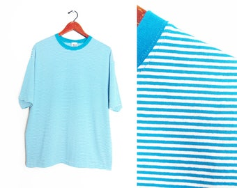 vintage t shirt / striped t shirt / 90s striped shirt / 1990s deadstock turquoise striped baggy t shirt Large