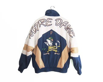 vintage windbreaker / Notre Dame jacket / 90s sportswear / 1990s Notre Dame padded spell out windbreaker Large