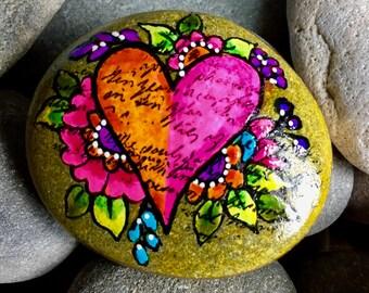 Blissful / painted rocks/ painted stones/ heart rocks / boho art / hippie art / hand held art / hearts on rocks / anniversary gifts / rocks