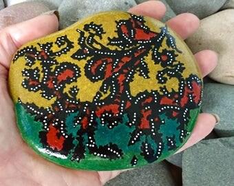 coral reef / painted rocks / painted stones / paperweights/ boho art / hippie art / beach house art / hand painted rocks / coffee table art