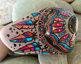 dance of the half moon / painted rocks / painted stones/ paperweights/ Native American art / boho art / hippie art / boho decor / feathers