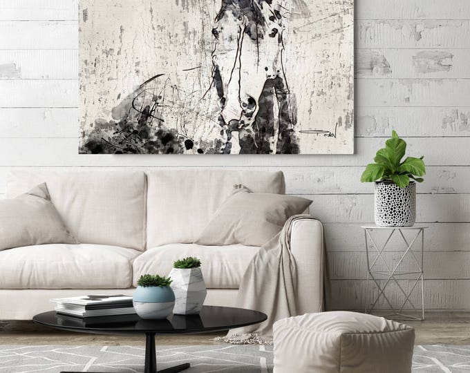 French Kiss 3. Extra Large Rustic Horse, Equine Wall Decor, Black Off White Rustic Horse, Large Farmhouse Wall Canvas Art Print up to 72