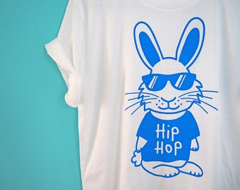 Hip Hop T-shirt, Funny Bunny T-shirt, Fun Rabbit Shirt, Funny Animal Tee, Cute Unisex Graphic Tshirt, Screenprinted Shirt, Blue T-shirt