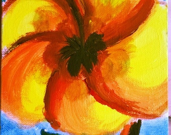 Hibiscus Acrylic Paintings Flower Painting Wall Decoration