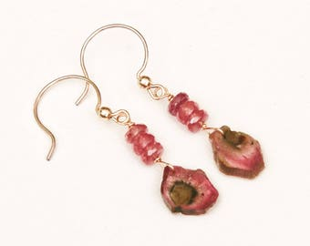 Watermelon tourmaline pink and green slices with petal hot pink genuine sapphire rondelles row dangle drop gold filled gemstone earrings