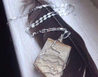 Silver Crazy Lace Agate Pendant - White Crazy Lace Agate Necklace - Crazy Lace Agate Sterling - White Agate Necklace Silver - Grandma Gift