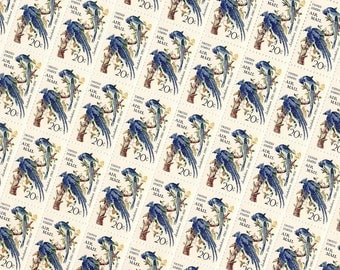 50 pieces - 1967 20 cent Audubon Columbia Jays - Vintage unused stamps - great for wedding invitations - Airmail version - higher face value