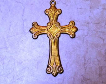Gorgeous Ornate Antiqued Brass Cross with Special Detail