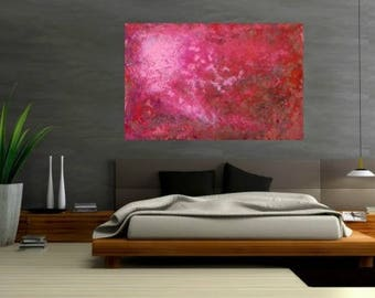 """SALE Large pink red browns abstract original modern art for minimal or modern home decor ready to hang  31.5""""  x  47""""x 1.5"""""""
