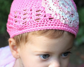 White and Pink Sequins Kufi Cap