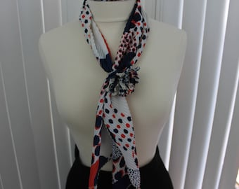Vintage Scarf Neck Waffle with Neck Ring Red/Blue 1960s