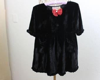 Vintage Childs Dress Black Velvet Girls 27 Waist Party Dress