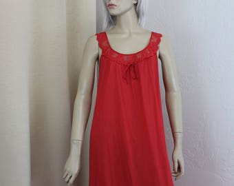 Vintage Nightgown Red Long 1960s Size Medium