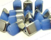 Periwinkle Blue and Half Plated Glass Beads - 12pcs - 15x9mm - Blue Gray Beads, Triangle Beads, Tube Beads, Two Tone Beads - BN37