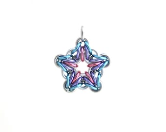 Star Pendant, Chain Mail Pendant, Pastel Jewelry, Star Jewelry