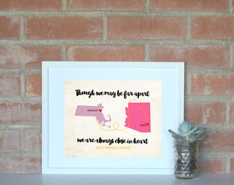 Long Distance Personalized Best Friend Map 8x10 Print. Two State Friend Art Print. Personalized Going Away Gift. Going Away to College Gift.