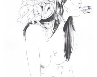 Woman and Owl Familiar Fine Art Print