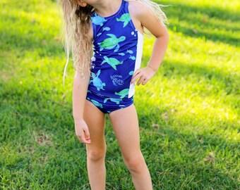 Tankini Swimsuit - Girls Swimsuit - Under the Sea Party - Two Piece Swimsuit - Razor Back Swimsuit - Blue Swimsuit - Green Swimsuit - Swim