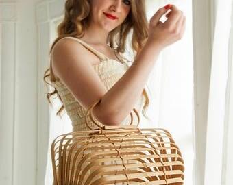 Vintage bamboo handbag basket purse, boho wood box sheer clear, 1960s 1970s Japan, tan red