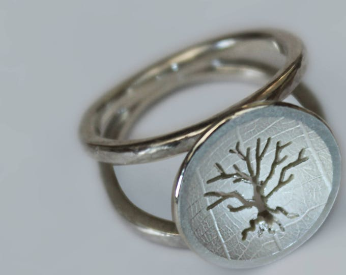 Sterling Silver Tree Ring, Hammered Ring, Handmade Silver Jewellery.