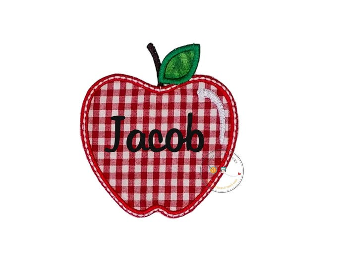 Red gingham apple iron on applique