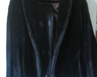 SALE!! Vegan Faux Fur Jacket - Burning Man Festival -  Jet Black  - Unisex Medium/ Large - Winter Event/Wedding