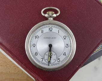 Vintage Silver Metal Pocket Watch, Not Working, Art Deco Case,  Steampunk Supply, Watch Parts