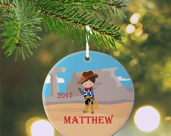 Personalized Kids Ornament - Cowboy Cowgirl Hand Wave Desert, Children Christmas Ceramic Circle Heart Snowflake Star