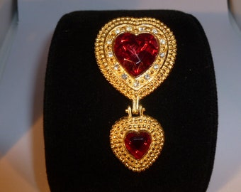 Gold and Red Double Heart Brooch.