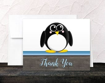 Penguin Thank You Cards - Rustic Wood Cute Penguin Blue and Brown - Blank Inside - Printed Cards