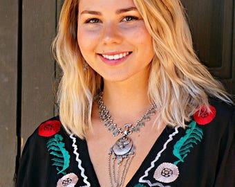 Paulina Statement Necklace Boho Jewelry Silver Necklace