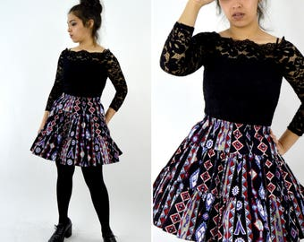 Vintage 1980's Southwest Circle Skirt - Cotton Ruffle Square dance skirt - Goth Grunge Hipster Geometric print Full Skirt - Size Medium