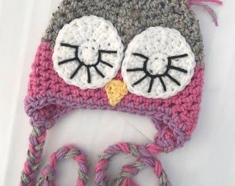 READY TO SHIP Crochet Hat | Sleepy Owl 0-3m