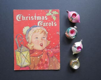 Vintage Christmas Carols Book // Paperback Decorative Illustrated Classic Christmas Music Book 1942 Holiday Home Decor Gift Idea
