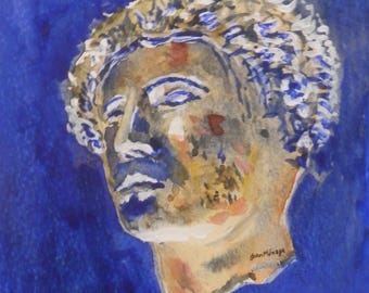 Watercolour of bronze head of Minerva, The Roman Baths Bath from watercoloure by John Menage. size.A4