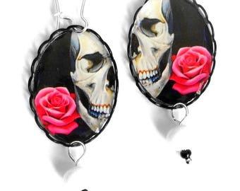 Skull with rose, ceramic bead earrings.