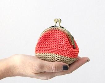 Crochet coin purse, retro coin purse, kiss lock coin purse, color block coin purse, the Coral Keeper, in coral and beige