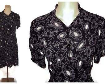 Vintage 1930s Dress Black Rayon Beige Abstract Floral Print Glass Buttons Art Deco German Swing Dress M chest to 39 in