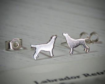 Handmade Sterling Silver Labrador Dog Stud Earrings