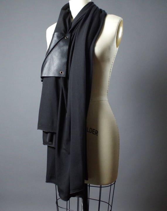RESERVED - Leather Black Scarf -  Long Black Scarf - Spring Black Scarf - Black Scarf - Women's Accessories - Leather Scarf