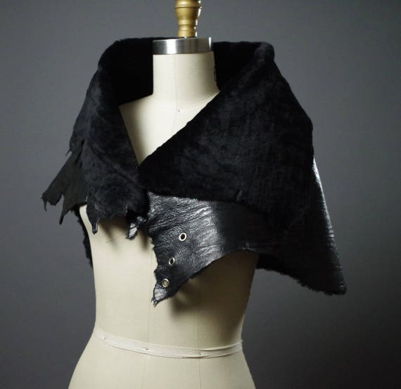 OOAK Leather Caplet - Black Leather Caplet  - Women's Leather Caplet - Dark Fashion - Designer Clothing