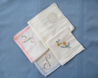 Rolled Edge Embroidered Vintage Handkerchiefs Mixed Set of Four