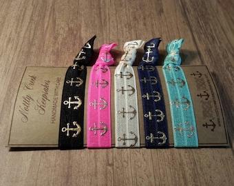 Anchors Away Elastic Hair Ties/ Anchor Hair Ties/ Gold & Creme Ties /No-Crease Hair Tie/Set of 5 Hair Ties/ FOE Hair Ties / Ponytail Holder